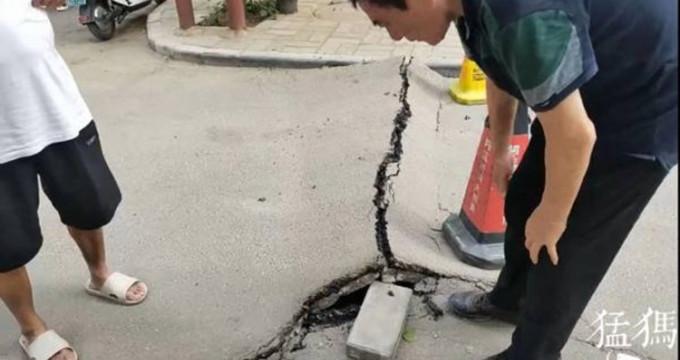 郑州39℃高温 地面被晒爆 市民:刚才还是好好的!